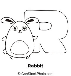 Coloring Alphabet for Kids, R with rabbit.