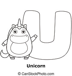 Coloring Alphabet for Kids, U with unicorn