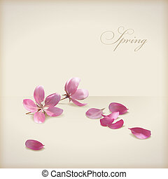 Floral vector cherry blossom flowers spring design. Pink...
