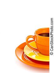 naranja, café, taza