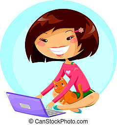 girl with laptop - young girl using her laptop while the cat...