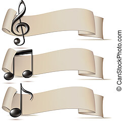 Set of banners with music icons Vector illustration