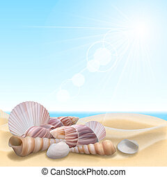 Shell on the beach. Summer holidays vector illustration