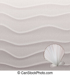 Marine background with seashell on sand. Vector illustration