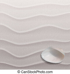 Marine background with seashell on sand Vector illustration