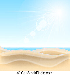 Sand beach background. Vector illustration.