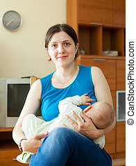 Mother breast feeding her seven-month baby