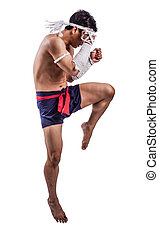 a thai boxer with thai boxing action
