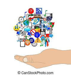 human arm supports many web icons 240613 - Abstract...