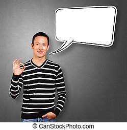 Asian Man In Striped with Speech Bubble - Asian man in...