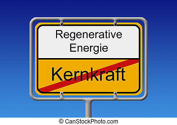 Nuclear Power renewaable energy - Illustration of a German...