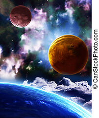 Space - A beautiful space scene with planets and nebula