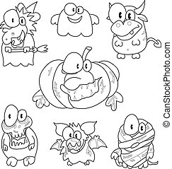 Collection of halloween creatures