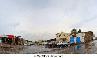 jeddah at afternoon with heavy rain - street in jeddah at...