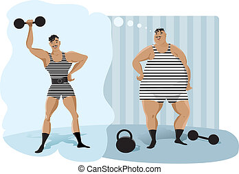 Retro weightlifter - Before starting exercise retro...