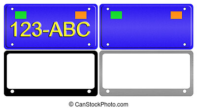 License Plate Illustration Set - An illustration of a set of...
