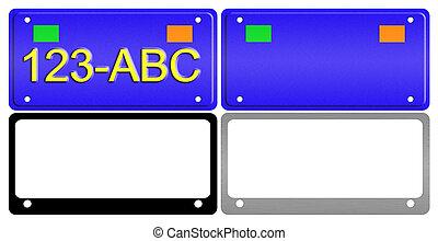 License Plate Illustration Set - An illustration of a set of...
