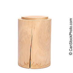 Birch bark container with closed top on a white background