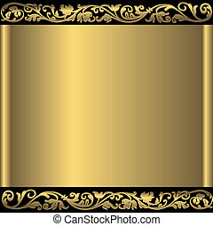 Golden abstract background vector - Vintage golden frame...