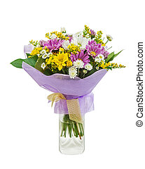 Colorful bouquet from gerberas in vase isolated on white background.