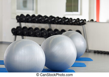 Fitness Balls In A Row At Gym