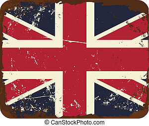 Vintage UK Flag - Vintage style tin sign with the British...
