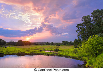 Sunrise - Beautiful sunrise landscape with flood waters of...