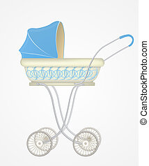 Illustration of baby carriage - Vector illustration of baby...