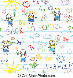 Seamless background. Back to school. Vector sketches with...