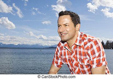man at the lake