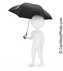 3d man with umbrella isolated on white