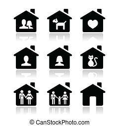 Home, family vector icons set - Family house icons set...