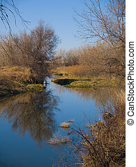 Prelude to Spring - The still Poudre river as the banks...