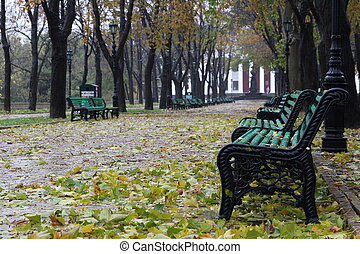 Seaside parkway in the autumn Odessa, Ukraine