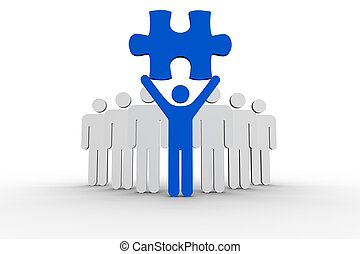 Leader holding blue jigsaw piece next to line of human forms...