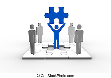 Blue human form brandishing jigsaw piece with other human...