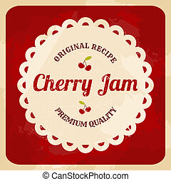 Retro Cherry Jam Label - Vintage style cherry jam card.