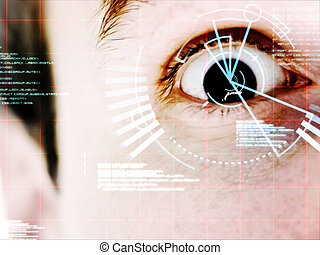 Dark eyed man with interface on his face