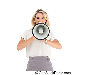 Businesswoman shouting through megaphone on a white...