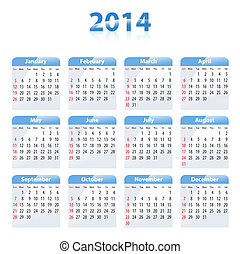 Blue glossy calendar for 2014. Sundays first. Vector...