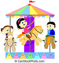 children on the carousel - children ride on the carousel