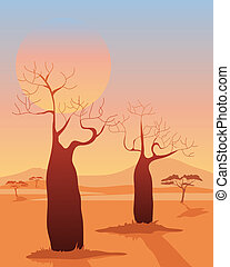 baobab - an illustration of a two baobab trees in a desert...