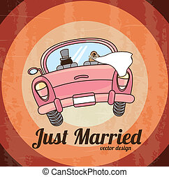 just married car over grunge background vector illustration...