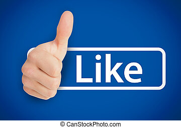 Real thumb up next to the like from social networks on blue...