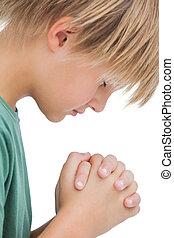 pequeno, Menino, dizendo, seu, orações, lado,...