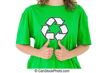 Environmental activist giving thumbs up on white background