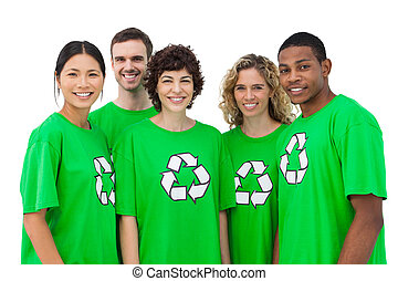 Group of environmental activists smiling on white background