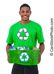 Man holding box of recyclables on white background