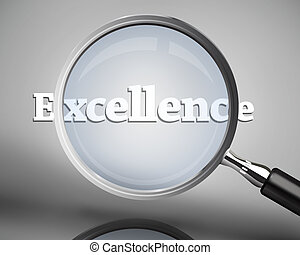Magnifying glass showing excellence word in white on grey...