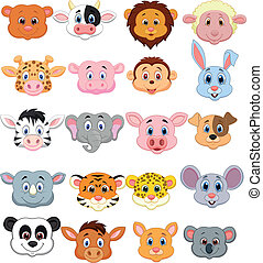 Cartoon animal head icon - Vector illustration of Cartoon...